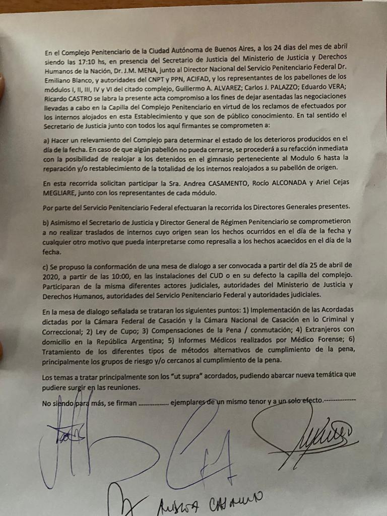 Terminó el motín en Devoto: firmaron un acta acuerdo y negociarán durante el fin de semana