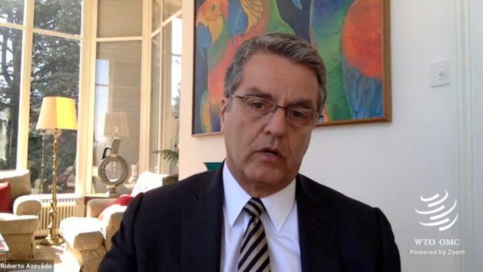 Roberto Azevedo, titular de la OMC, en videoconferencia.