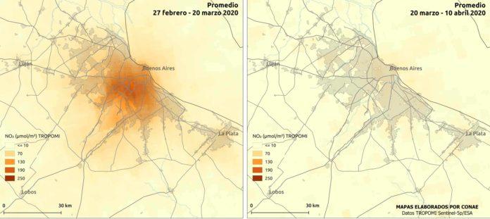 En Buenos Aires y el área metropolitana la reducción de NO2 es notable.