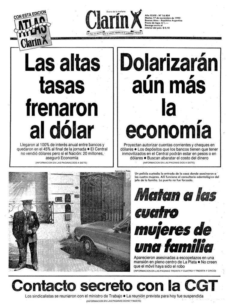 """La tapa del diario Clarín del 17 de noviembre de 1992: """"Matan a cuatro mujeres de una familia""""."""