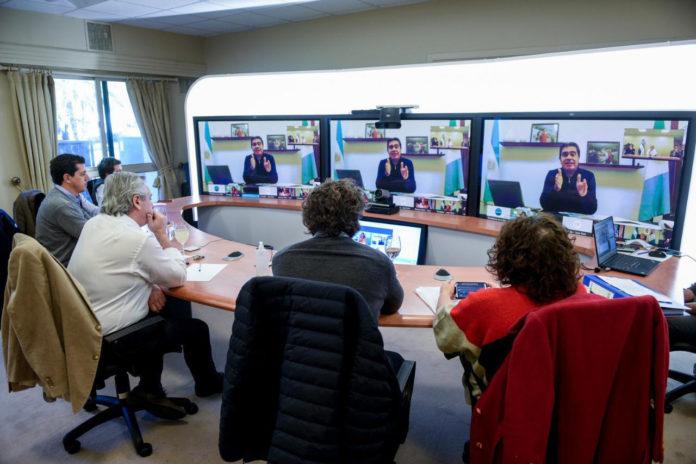 Alberto Fernández en videoconferencia desde la residencia de Olivos. (Presidencia)