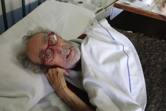 Barreda el año pasado, cuando permanecía internado en el Hospital Eva Perón de San Martín. (Twitter)