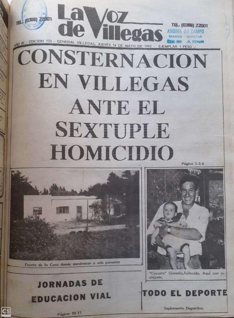 """El ejemplar de """"La Voz de Villegas"""" del 14 de mayo de 1992. (Gentileza Biblioteca Municiipal de General Villegas)"""