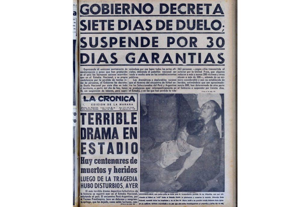 La tragedia en la portada de los medios peruanos, el lunes 25 de mayo de 1964.