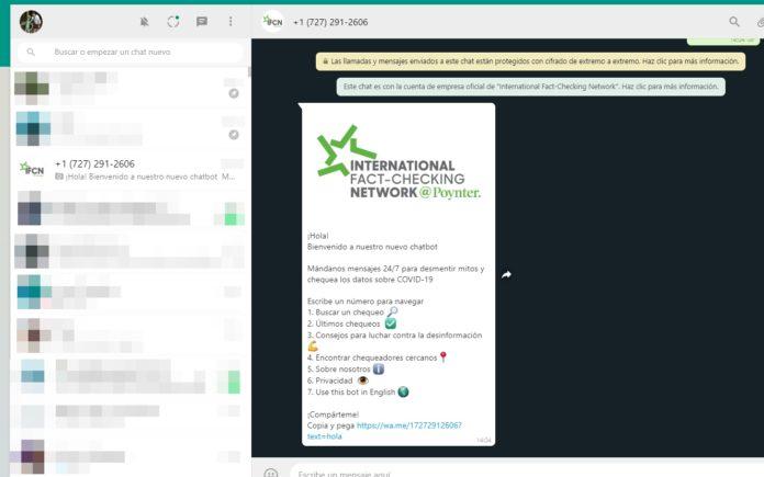 El chatbot funcionando en WhatsApp web. (Captura de pantalla)