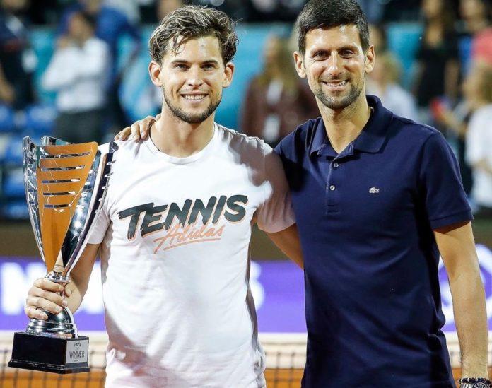 Dominic Thiem y Novak Djokovic hace menos de dos semanas, en el torneo de la polémica. (Twitter(.