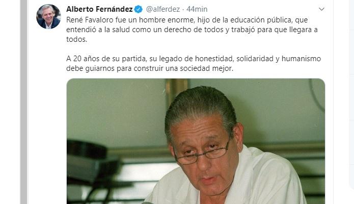 El presidente Alberto Fernández recordó a Favaloro, a 20 años de su muerte