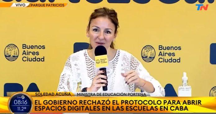 La ministra de Educación porteña, Soledad Acuña, en la conferencia de prensa de este jueves. (Captura de video)