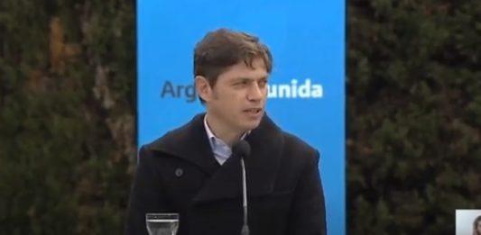 El gobernador Axel Kicillof en el anuncio del plan de seguridad para la provincia