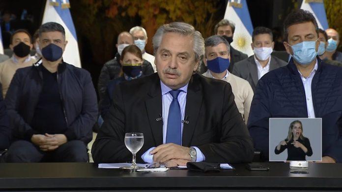 El presidente Alberto Fernández ayer en el anuncio. (Captura de video)