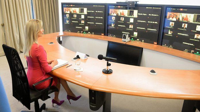 Fabiola Yáñez en la cita online con colegas de ALMA y Caricom. (Télam)