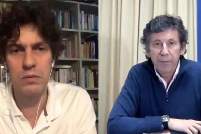 Martín Lousteau y Gustavo Posse en el Zoom de ayer. (Captura de video)