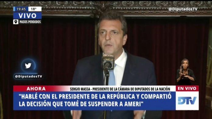 """Según Santiago Cafiero, el presidente de la Cámara baja, Sergio Masa, """"actuó rápido y le dio el marco adecuado"""" al suceso. (Diputados TV)"""