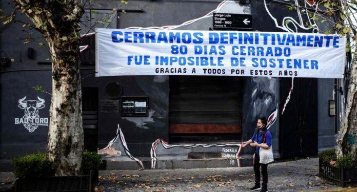 Un restorán cerrado por la pandemia en el barrio porteño de Palermo. (Twitter)