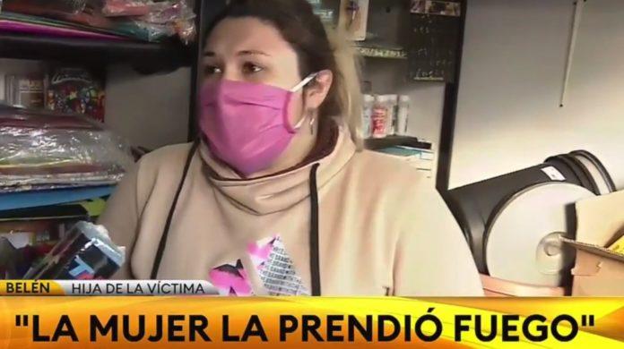 Belén, la hija de la panadera asaltada y quemada. (Captura de video)