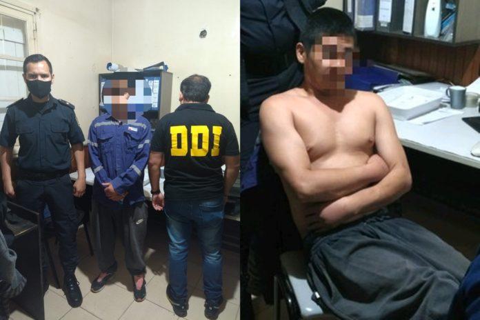 La Policía con el presunto homicida de San Nicolás, capturado a 30 kilómetros del lugar del crimen. (Policía Bonaerense)