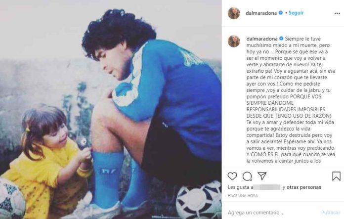 El posteo de Dalma Maradona en Instagram conmovió a miles de fans. (Instagram @dalmaradona)
