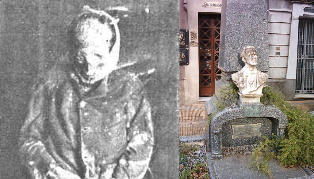 """La """"momia que echaba luces"""" y el sepulcro de Matías Behety en el cementerio platense. (Caras y Caretas / DIB)."""