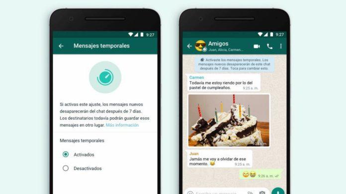 Llegan los mensajes temporales a WhatsApp, se autodestruyen en 7 días