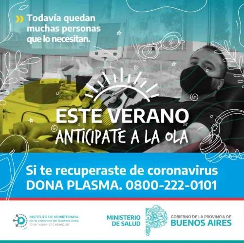 Ante el crecimiento de casos, Provincia refuerza convocatoria de donantes de plasma