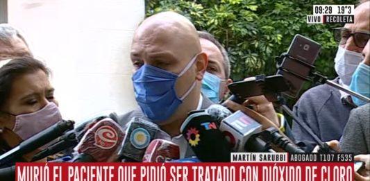 """Martín Sarubbi, abogado del hombre fallecido anoche tras el tratamiento con CDS, aseguró le iniciarán una causa al Sanatorio Otamendi por """"homicidio culposo"""". (Captura de video)"""