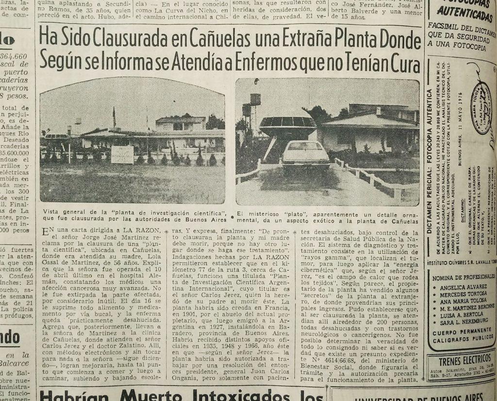 """La clausura de la """"Planta Científica"""" reflejada en el diario porteño La Razón."""