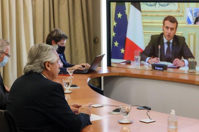 Fernández se aseguró el apoyo de Macron en la renegociación de la deuda con el FMI