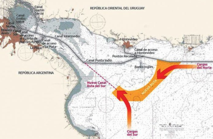 La ruta actual pasa por Montevideo y el Canal Punta Indio. Se busca dragar el Magdalena para crear el Canal Ruta del Sur.