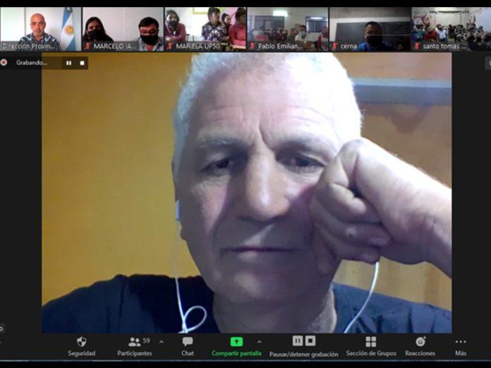 Coggi en la charla via Zoom con los internos de penales bonaerenses. (Prensa SPB)