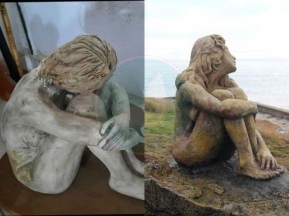 """A la izquierda, la """"Marianita"""" de la diseñadora gráfica; a la derecha, la escultura de Playa Chica. (Mardelplataweb)"""