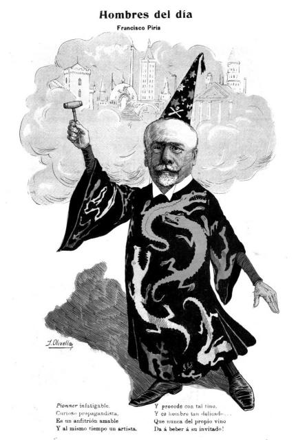 "Caricatura de Francisco Piria como ""El alquimista""."