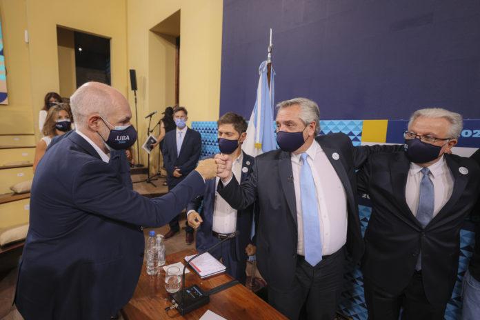 Fernández, Kicillof y Rodríguez Larreta volvieron a mostrarse juntos, convocados por la UBA