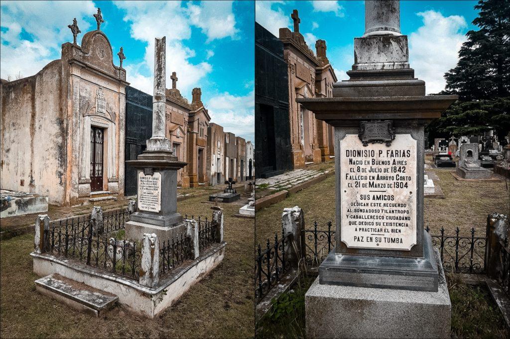 La tumba de Dionisio Farías en el cementerio de Arroyo Corto. (Gentileza Nicolás Colombo)