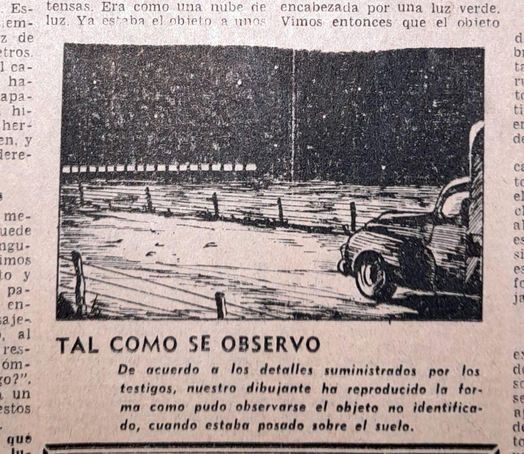 El dibujo en La Nueva Provincia a partir del relato de los camioneros. (Gentileza Esteban Lingeri)