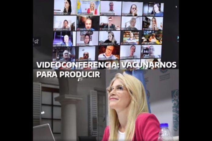 La conferencia de Verónica Magario con los representantes de las cámaras empresarias. (Captura de video)