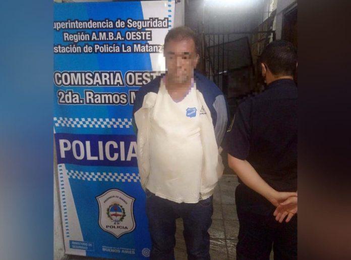 El detenido acusado del violento robo y asesinato de María Rosa Daglio. (Télam)