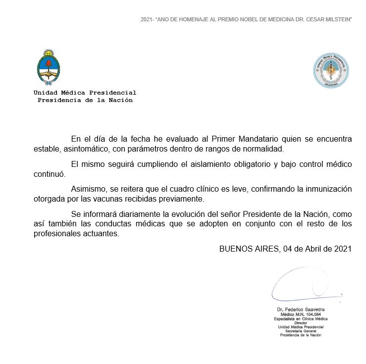 """Parte oficial: el cuadro """"leve"""" de Fernández confirma inmunización de la vacuna"""