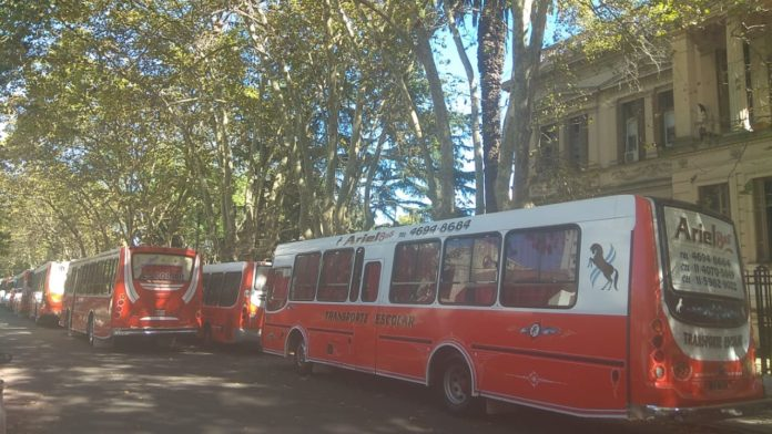 Transportistas escolares protestaron frente al Ministerio de Educación bonaerense