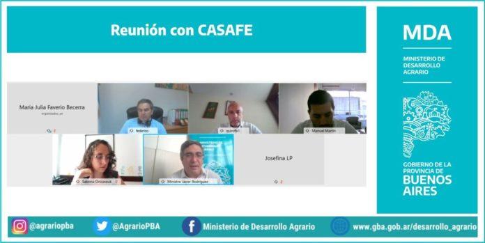 Casafe y el Ministerio de Desarrollo Agrario en la reunión virtual. (Prensa MDA)