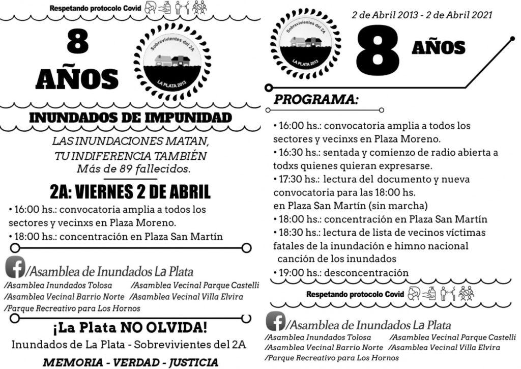 Las propuestas para hoy de la Asamblea de Inundados La Plata.