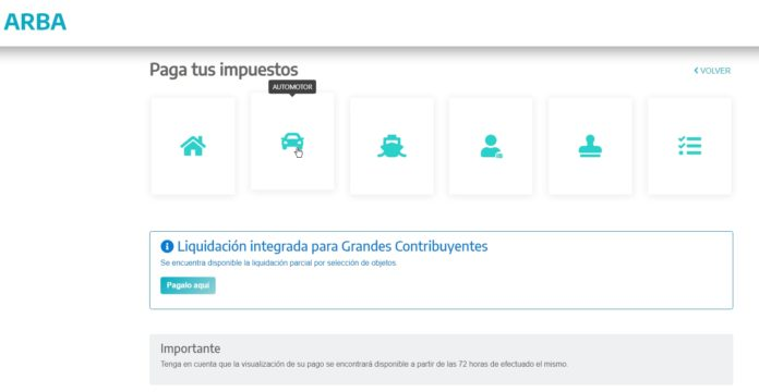 La nueva interfaz de ARBA en su sitio web.
