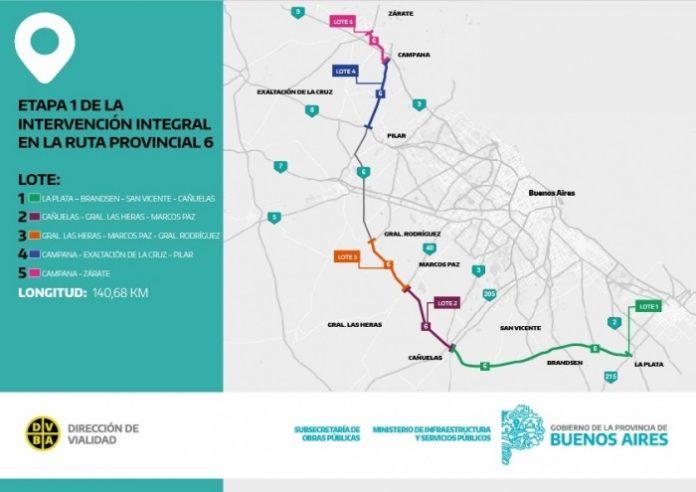 El Gobierno bonaerense realizó el llamado a licitación para la primera de tres etapas de mejora integral de la ruta provincial 6