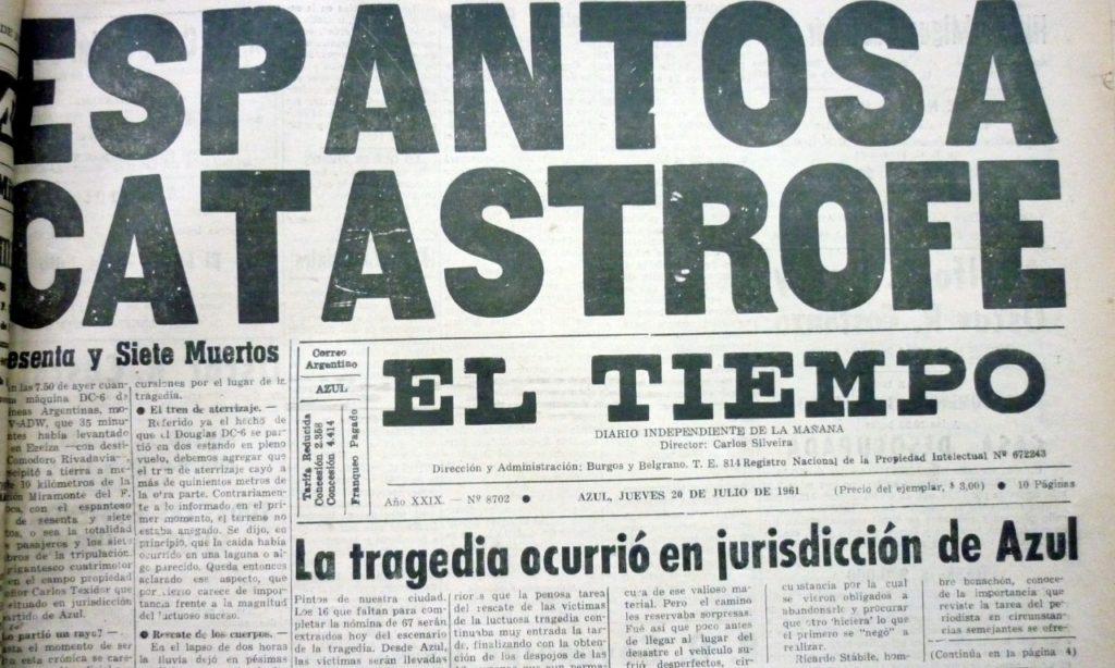 El titular de El Tiempo de Azul al día siguiente del fatídico siniestro. (Gentileza diario El Tiempo)