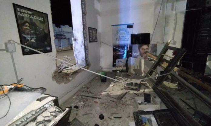 Los destrozos en el local partidario bahiense.