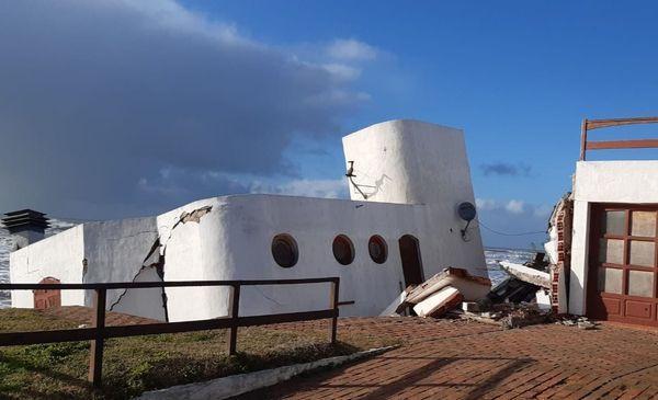 La casa que se derrumbó el miércoles a la madrugada en Mar del Tuyú.