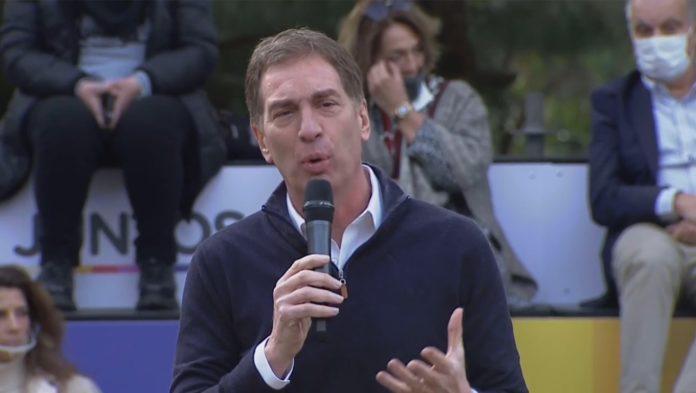 Diego Santilli en el acto formal del lanzamiento de su precandidatura. (Captura de video)
