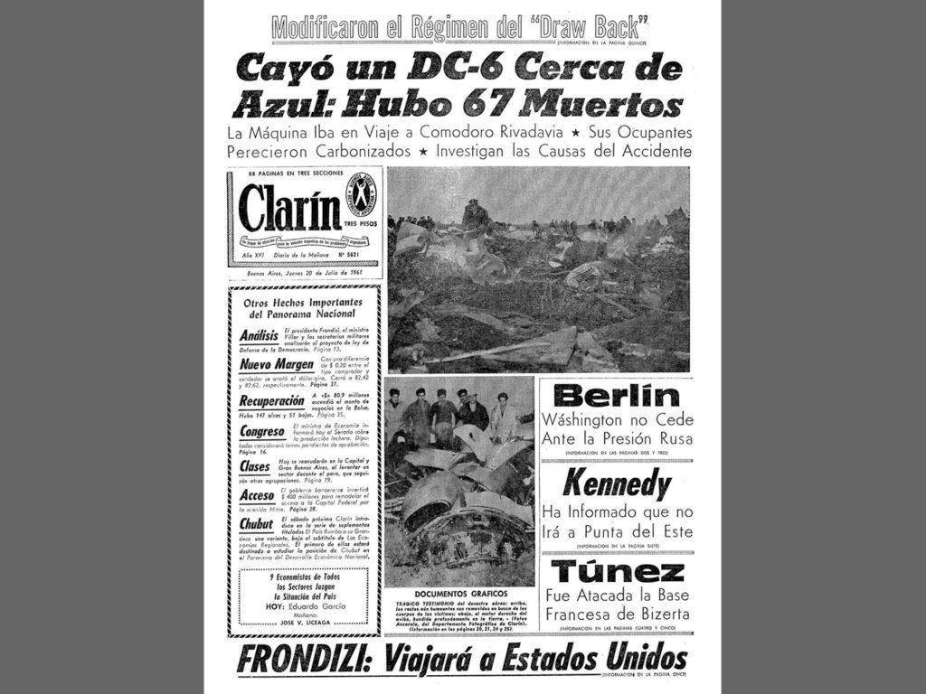 La tapa de Clarín del 20 de julio de 1961 mostrando el desastre.