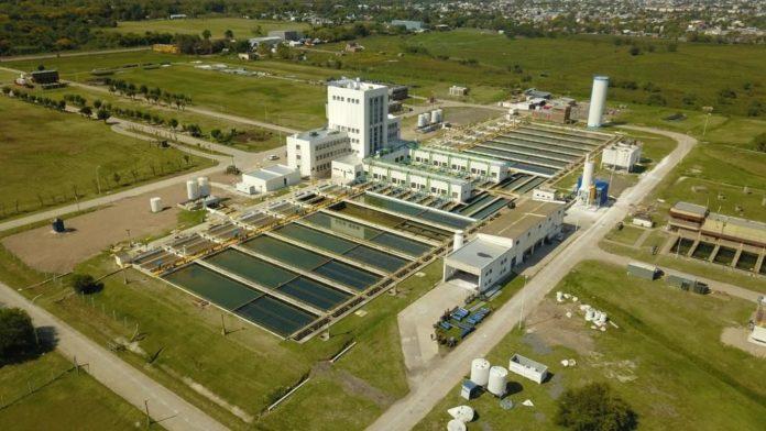 La planta potabilizadora de agua en Punta Lara.