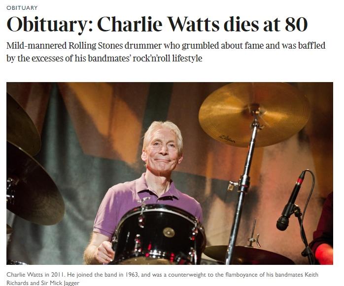 """La muerte de Watts en The Times: """"El baterista de los Rolling Stones de suaves modales que gruñía por la fama""""."""