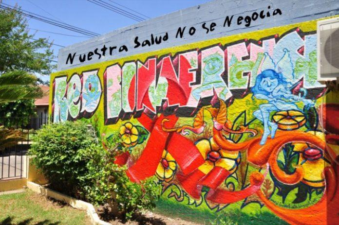 Mural que representa la labor de la Red Bonaerense de Personas viviendo con VIH/SIDA. (Facebook)